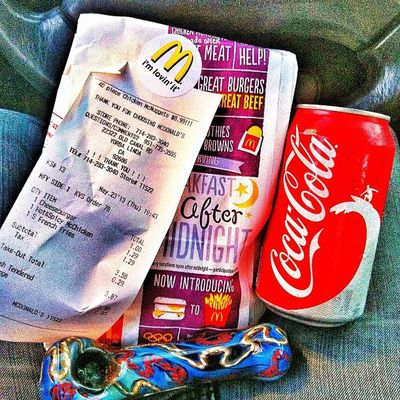 My lunch for today Micky D's Marijuana Coke All I needfortonightforworkletsmakethatmula????????☺