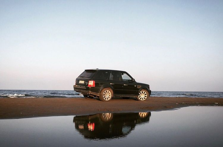 Sea Water Transportation Car Reflection Horizon Over Water Clear Sky Nature Scenics Sky Beauty In Nature No People 4x4 Outdoors Off-road Vehicle Day Beach Landrover  Land Vehicle Rangerover Rangeroversport Nature Natural Habitat