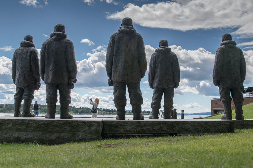 Monument Men Group Of People Stone Grass Cloud Tree Water Coast Fjørd Fjord Norway Oslo Vacation Traveling Travel Guide Color Line Frammuseet Museo Polar Ship Museum Museum Island Fridtjof Nansen