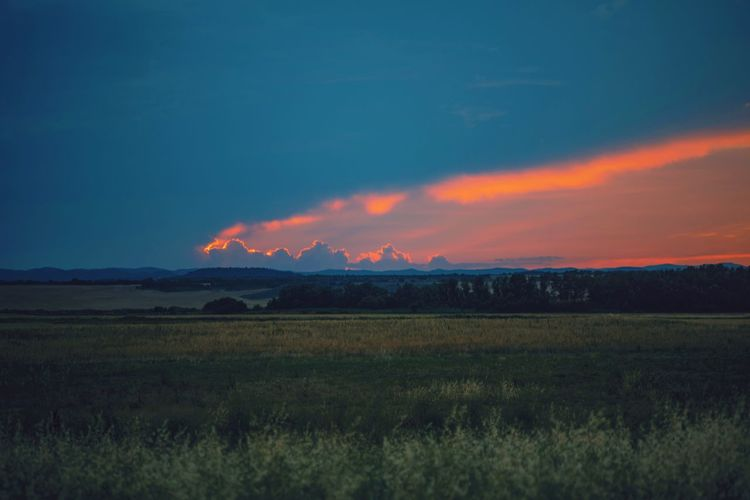 darkness and light Green Landscape Blue Hour Blue Light Red Red Color Blue Sky Pink Color Nature Green Color Outdoors Nature_collection Outdoor Photography Nature Photography Village