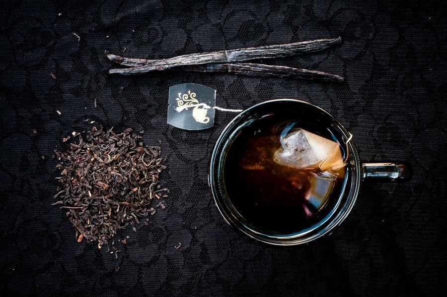 Black Breakfast Cup Flatlay From Above  Lace Mug Cup On The Table Table Tea Tea Leaves Vanilla Vanilla Bean