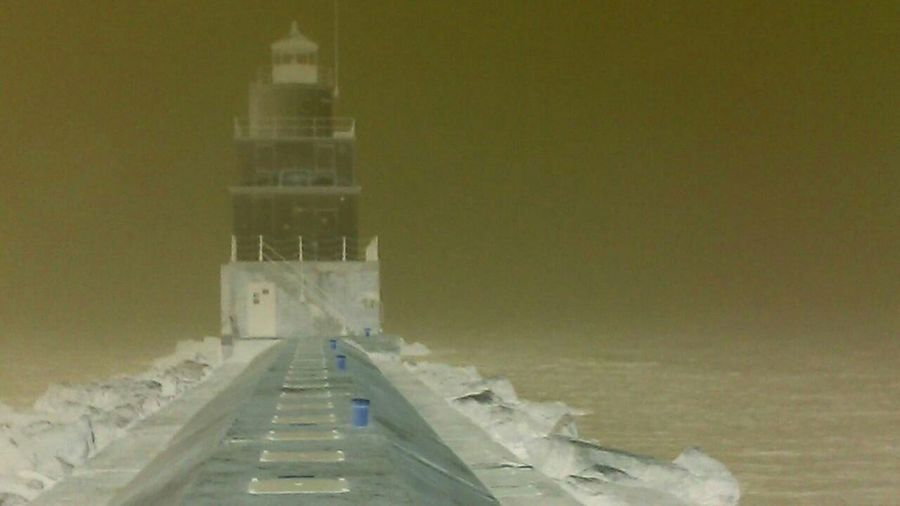 Was putzing with my negative option.as the fog rolled in loved the eerie feel of the lighthouse photos Negative Effect Manitowoc Marina Lighthouses Of Lake Michigan Fogrollingin