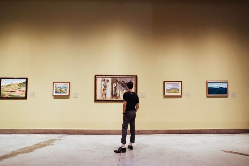 Rear view of woman photographing in museum