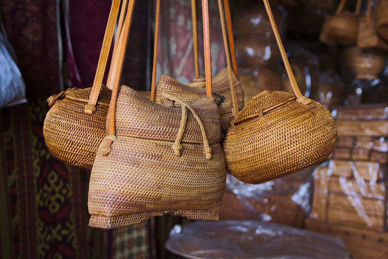 Close-up of bags hanging