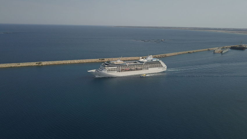 Cruise ships Limassol Cyprus Oceania Cruise Ocenia Oceania Drift Holiday Advertising High Angle View Cyprus Nature Seascape Sea And Sky Blue Boat
