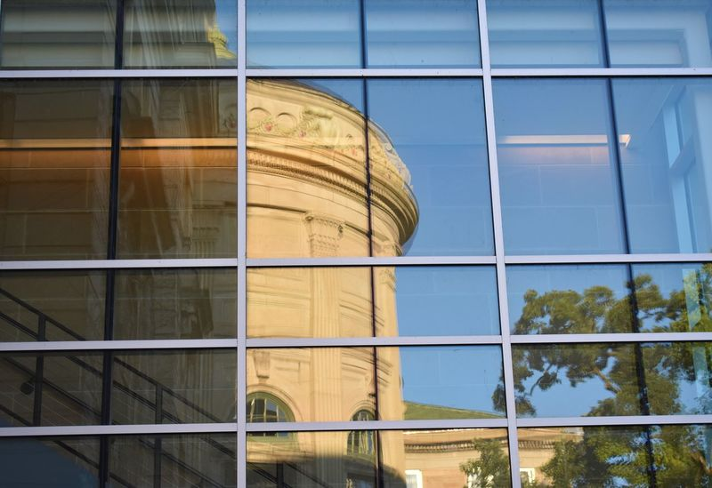 Campus UW Madison Wisconsin Architecture Building Building Exterior Built Structure City College Day Focus On Foreground Glass Glass - Material Low Angle View Modern Nature No People Outdoors Reflection Sky Transparent University Window