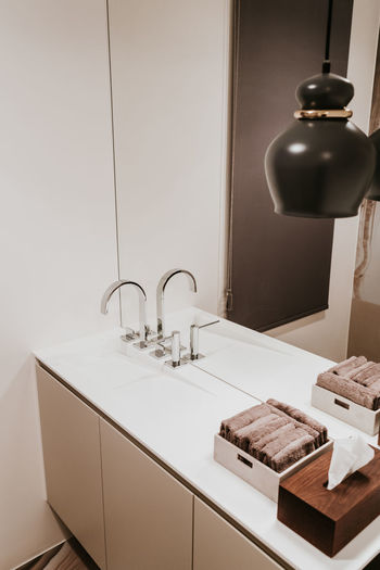 Indoors  Sink Faucet No People Bathroom Home Domestic Room Hygiene Lighting Equipment Home Interior Modern Mirror Domestic Bathroom Electric Lamp Wealth Luxury Household Equipment Light Reflection Home Showcase Interior Tray
