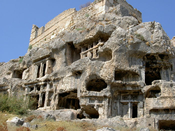 Ancient Ancient Civilization Archaeology Architecture Building Exterior Built Structure Day Fortress History Low Angle View No People Old Ruin Outdoors Rock - Object Sculpture Sky Tlos Antik Kenti, Fethiye- Türkiye Tourism Travel Travel Destinations