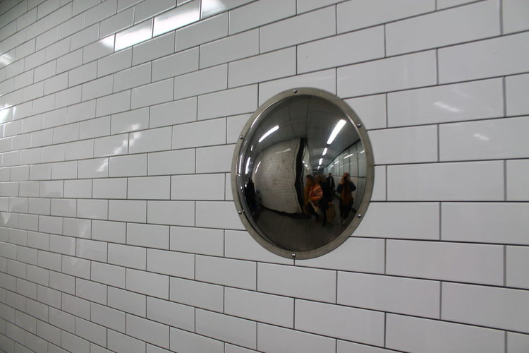London Tube Mirror Architecture Built Structure Close-up Day Indoors  Mirror Reflection Real People Tile British Culture