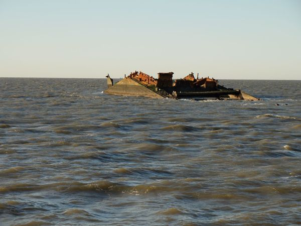 """Wrackage of """"MS Pallas"""". 20 years after ship collaps inside German Wattenmeer Wrackage Sea Water Clear Sky Nautical Vessel Waterfront Nature Horizon Over Water Sunken No People"""