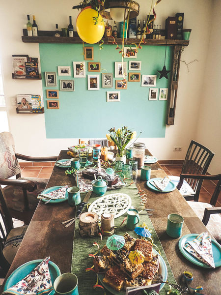 Birthday Party Laid Table Coffee Time Coffee Table Family Time Country House Turquoise Colored Streamer Cake Table Desk