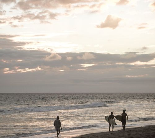 Sea Beach Nature Beauty In Nature Horizon Over Water Water Real People Silhouette Scenics Sky Sunset Two People Tranquil Scene Leisure Activity Men Sand Tranquility Lifestyles Dog Outdoors