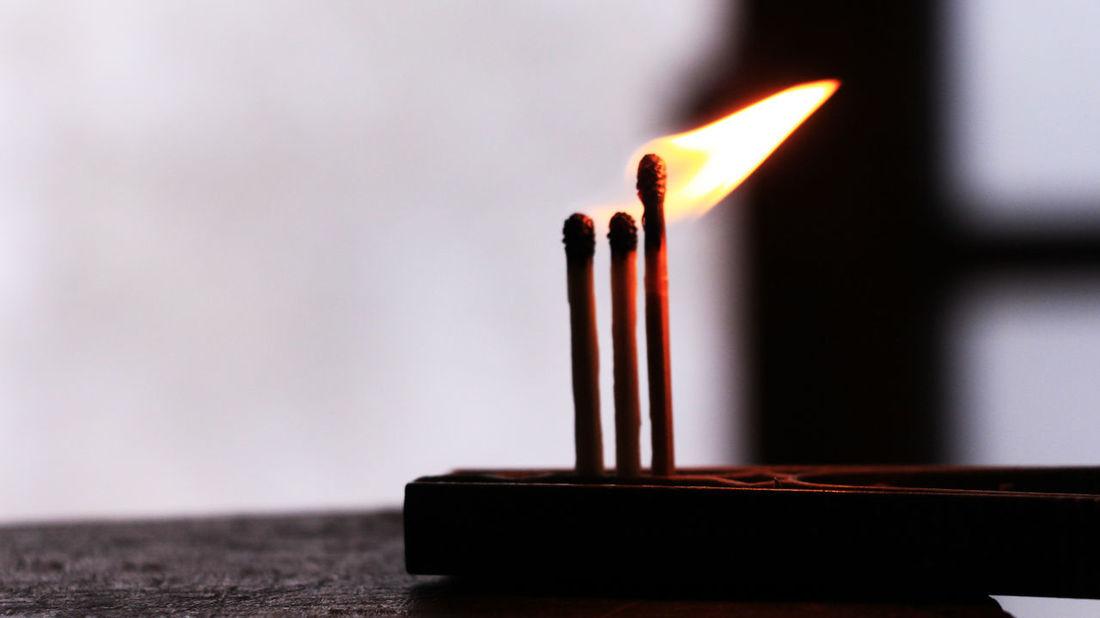 Fósforos Detalhe Light Chama Desfocado Detail Fogo Fósforos Queimando