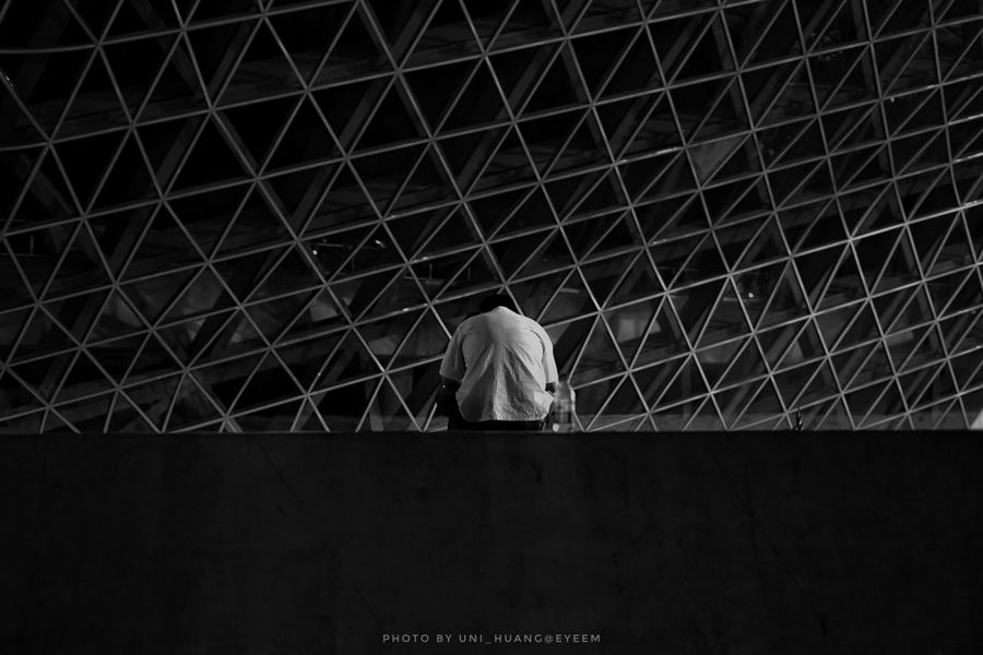 Architecture Built Structure One Person Only Men Rear View Lonlyness Lonliest Place Lonley Guangzhou,China Blackandwhite The Street Photographer - 2017 EyeEm Awards
