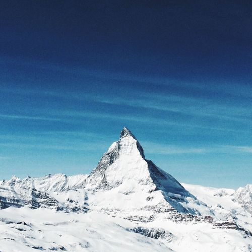 The Matterhorn Zermatt Switzerland The Alps Snow Cold Temperature Scenics Winter Beauty In Nature Nature Tranquility Tranquil Scene Blue Idyllic Snowcapped Mountain Non-urban Scene Mountain Sky Extreme Terrain Physical Geography Day Landscape Frozen Outdoors EyeEmNewHere