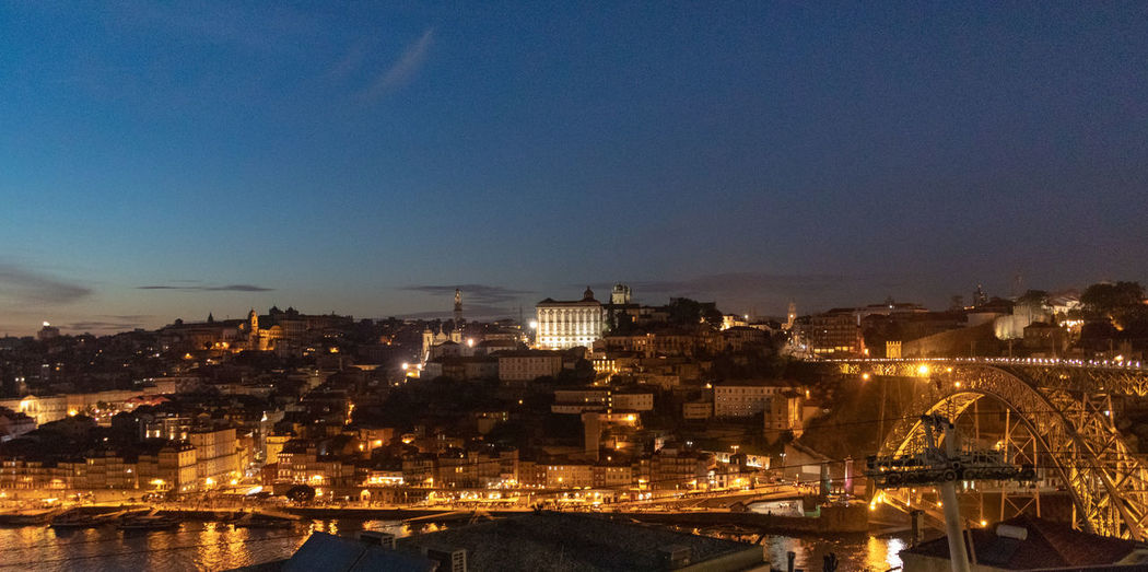 Ribeiro district of Porto at night Porto Portugal Architecture Building Building Exterior Built Structure City Cityscape Clear Sky Copy Space Dusk High Angle View Illuminated Nature Night No People Outdoors Residential District Ribeira Sky TOWNSCAPE Water