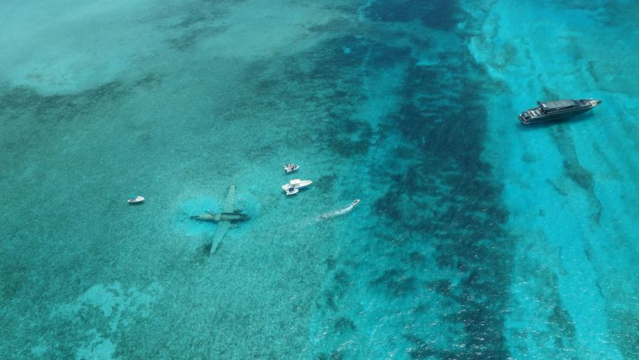 Aerial View Of Wreckage Of Cargo Aircraft At Norman Cay Bahamas