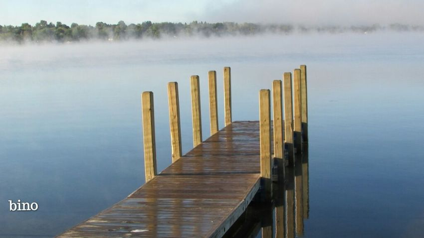 Foggy Morning Dawn Of A New Day Around The Lake Wooden Dock From My Point Of View Very Blue Foggy Cool!! Reflection Lake Cadillac Pure Michigan