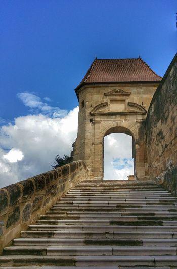 Entrée de l'Abbaye de Saint Antoine (XI ème siècle), à Saint Antoine L'Abbaye (Isère - France)Heaven Gates Castle Abbey Templiers Stairs Architecture Clouds And Sky Clouds Sky