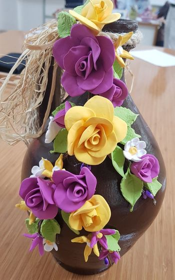 Flower Flower Head Gift Bouquet Multi Colored Rose - Flower Table Ribbon - Sewing Item Close-up