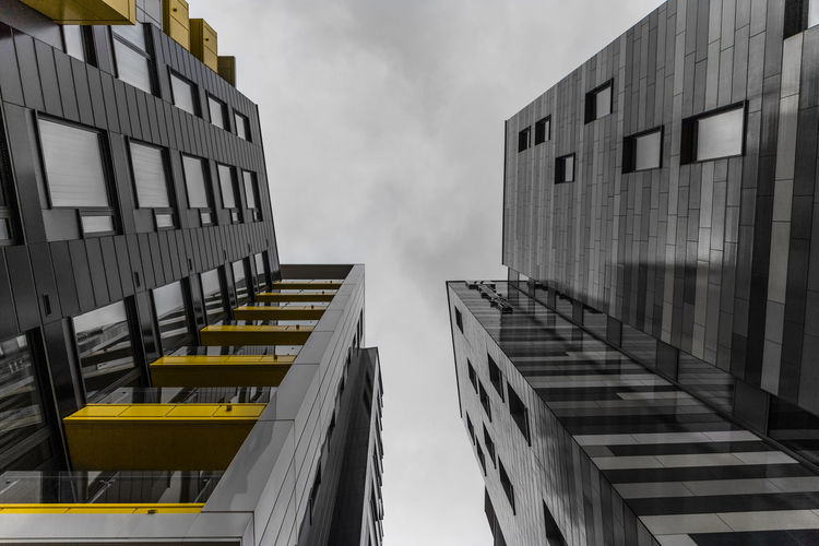 Architecture Black & White Building Building Exterior Built Structure Low Angle View Selective Color Yellow Eyeem Black And White Eyeem Manchester EyeEm Buildings EyeEm Bnw Eyeem Architecture