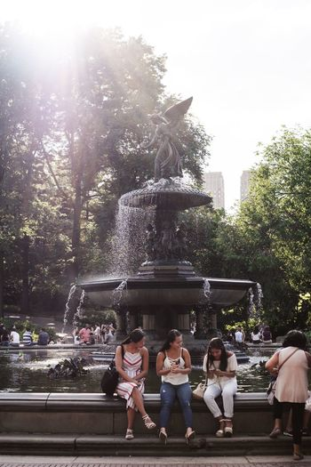 Central Park Friends New York USA Wanderlust Fountain Leisure Activity Nature Outdoors Real People Roadtrip Statue Togetherness Tree Water Women