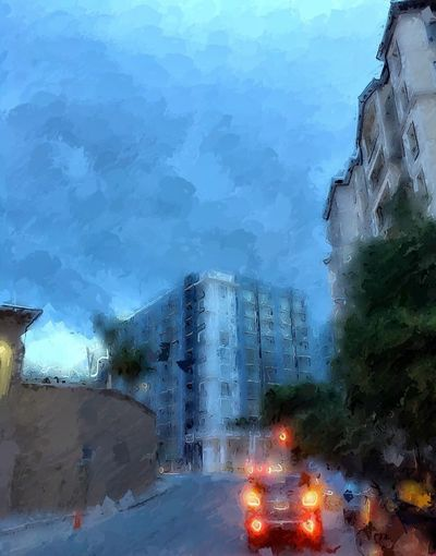 A taxi cab on a cold and rainy dawn. Cold Temperature Weather Outdoors Architecture Built Structure Nature Building Exterior Tree Sky Rain Dawn