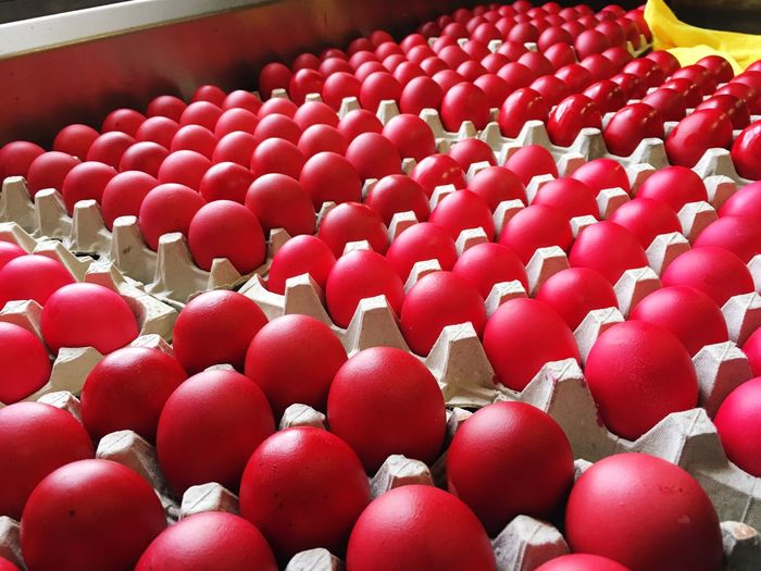 Eggs dyed red