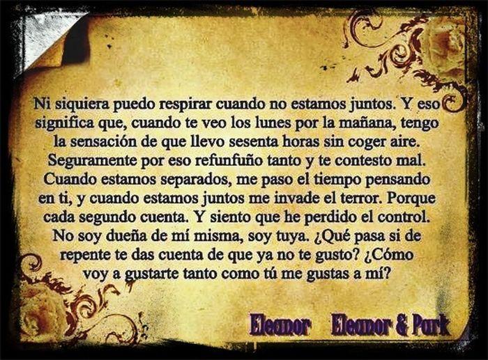Unas palabras hermosas de Eleonor Book. Eleonor & Park