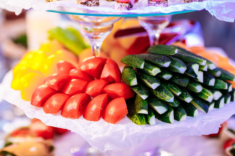 Close-up of fruits in glass