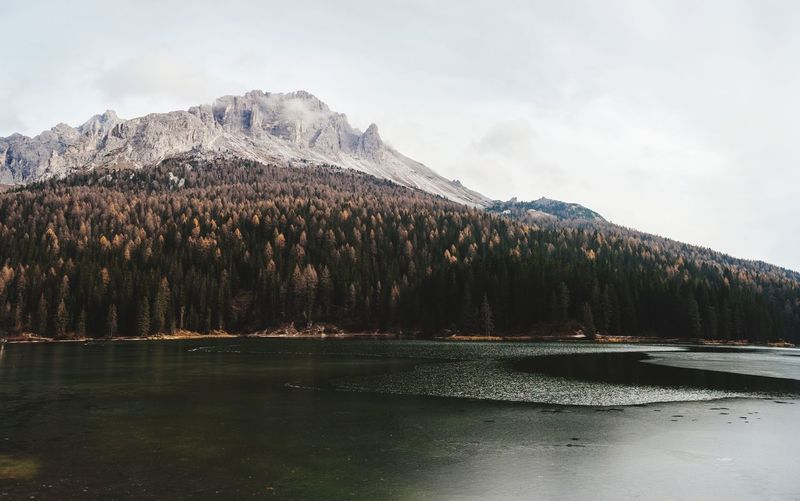 Scenic view of lake by snowcapped mountain against sky
