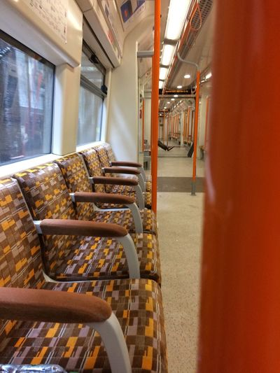Empty trains EyeEm Selects Seat Indoors  Empty No People Architecture Absence Public Transportation Vehicle Seat Train - Vehicle Mode Of Transportation Train Chair Vehicle Interior Metal
