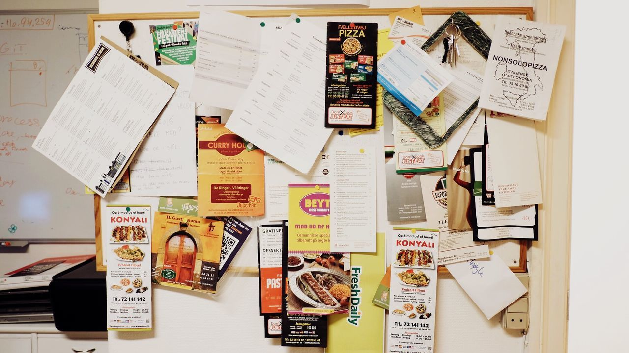 paper, communication, no people, text, note, adhesive note, indoors, large group of objects, multi colored, bulletin board, western script, publication, still life, education, wall - building feature, choice, reminder, human representation, table, variation, message