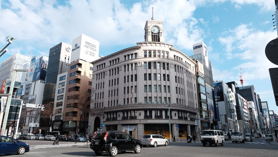 #ginza #japan Architecture Building Exterior Business Finance And Industry City Cityscape Cloud - Sky Day Horizontal Modern No People Outdoors Skyscraper Tourism Travel Travel Destinations Urban Skyline Yellow Taxi First Eyeem Photo