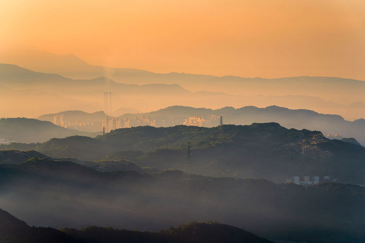 Jiufen city scape. jiufen sunset light in taiwan with foggy evening light. jiufen, taiwan