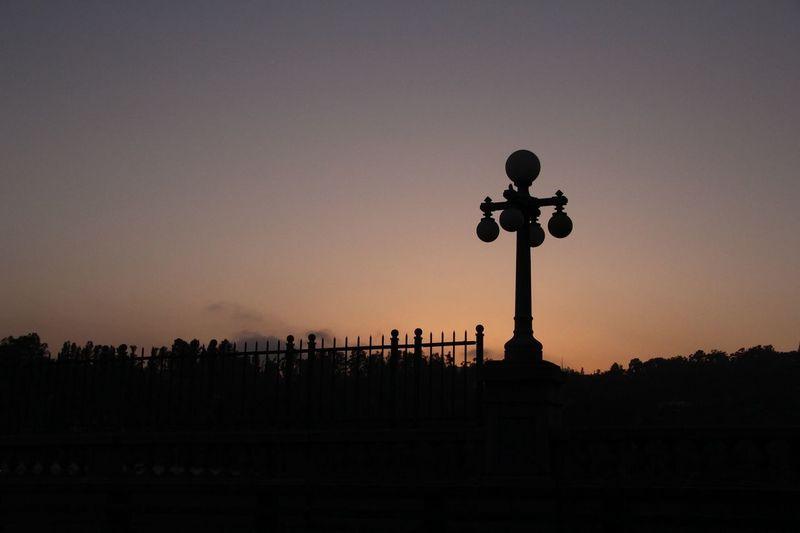 Taking Photos Bridge Sunset Silhouettes