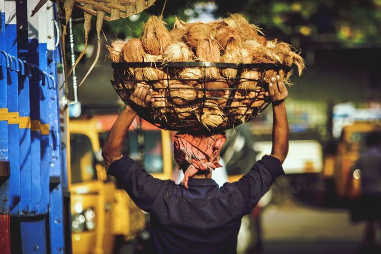 Man carrying coconuts in basket for sale