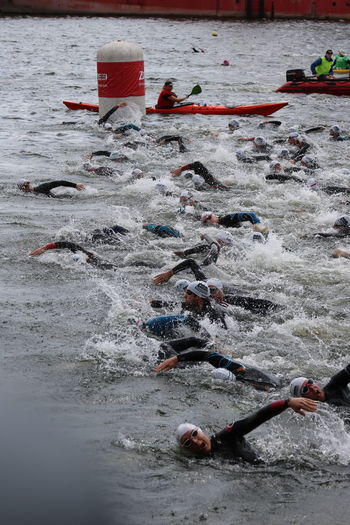 Adult Athlete Competition Day Docklands Large Group Of People Leisure Activity London Triathlon Outdoors People Sport Sportsman Swim Start Swimming Triathletes TRIATHLON Water