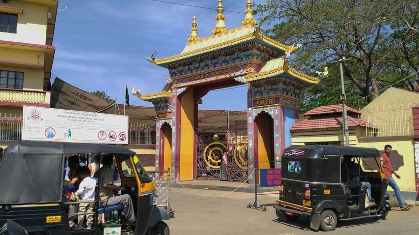 Bylakuppe Monastery Gate Temple Bhuddhism Temple Gate Monastery Gate Entrance Monastery Entrance Temple Entrance India
