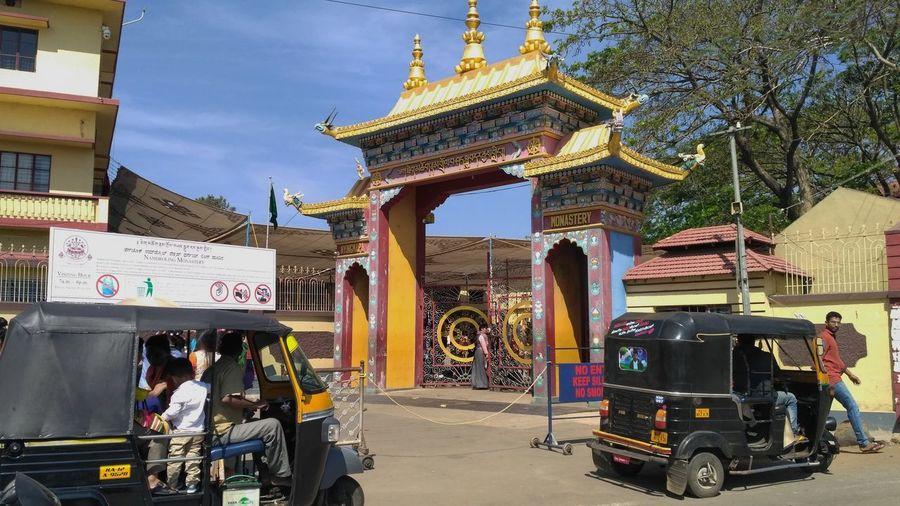 Bylakuppe Monastery Gate Temple Bhuddhism Temple Gate Monastery Gate Entrance Monastery Entrance Temple Entrance India