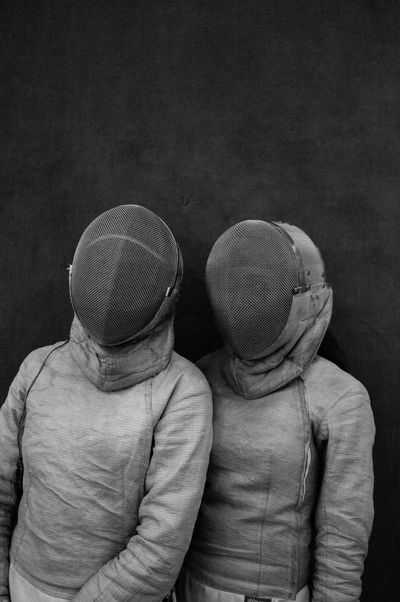 Two People Togetherness Indoors  People Fechtmasken Fechten Fechter 🤺 Fechtsport FechtSportVerein Fechtturnier