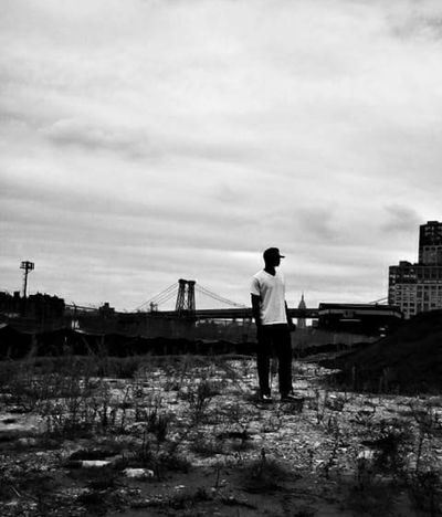 Full Length One Person Sky Outdoors Nature Beauty In Nature DOPE NYC AndroidPhotography PhonePhotography Built Structure City Brooklyn Blackandwhite Cityscape Urban Skyline Bridge - Man Made Structure Standing