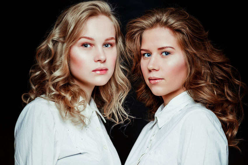 Blond Blonde Girl Blonde Hair Girls Portrait Portrait Of A Woman Portrait Of Sisters Portrait Of Twins Twins White Shirts Young Young Women