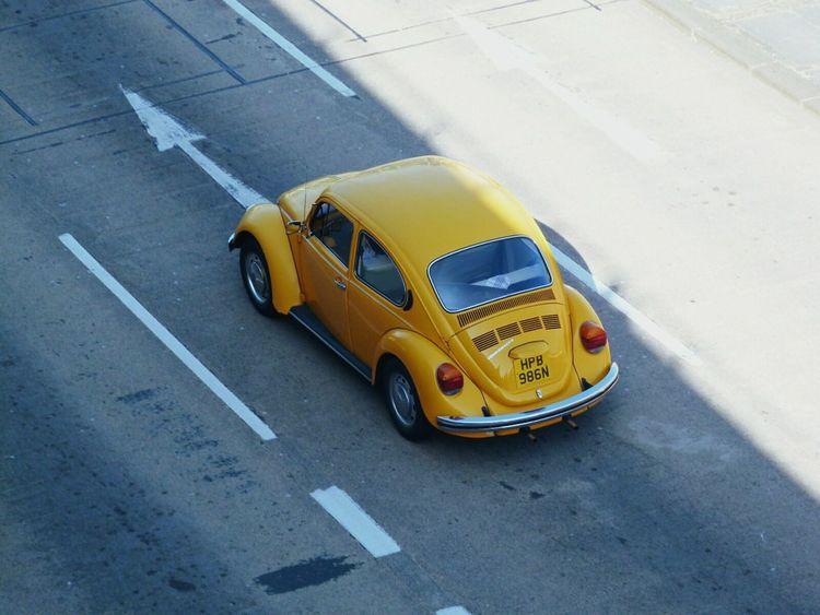 V dub Yellow City Street Street Asphalt VW Beetle Volkswagen