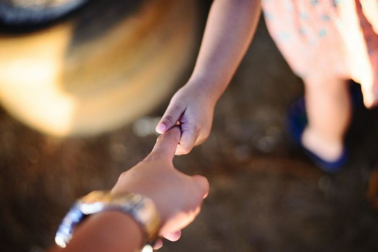 Hold my hand Human Hand Low Section Young Women Water Summer Beach Child Sand Close-up