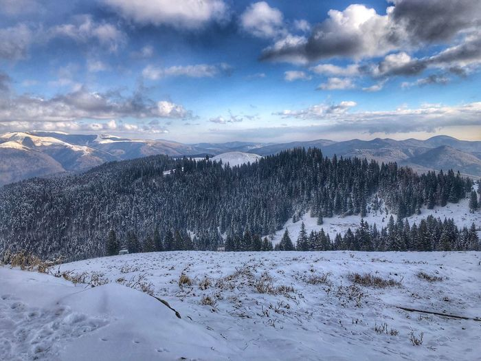 Bucegi Natural Park Snow Winter Cold Temperature Cloud - Sky Scenics - Nature Sky Environment Beauty In Nature Mountain Landscape Snowcapped Mountain EyeEmNewHere
