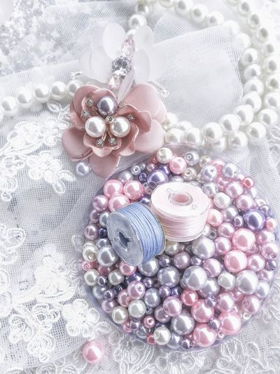 Lace - Textile Beading Beaded Embroidery Embrice Females Luxury Pink Color Jewelry Celebration Pearl Jewelry Necklace Close-up Bead Cosmos Flower