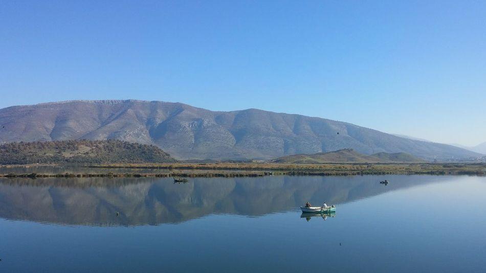 Reflection Lake Mountain Water Outdoors Landscape Albania Butrint Boat Fishing