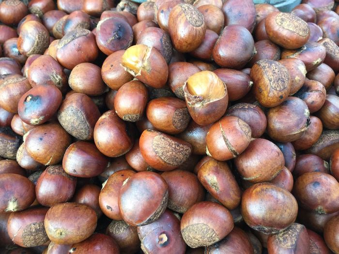 Full Frame Shot Of Chestnuts At Market Stall For Sale