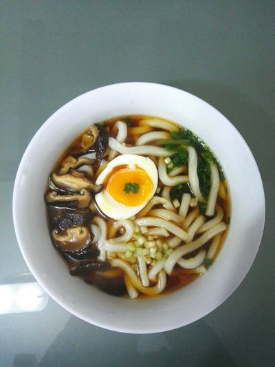 Udon Noodles Sauce Soup Breakfast ♥ Shiitake Mushrooms Chinese Chives Brunch Soft Boiled Egg